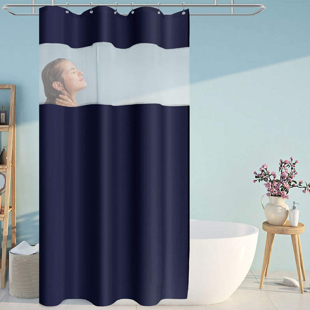 Eforcurtain Small Stall Size Unique Navy Blue Polyester Shower Curtains Top White Organza Design, Rust Proof Metal Grommets Bath Curtain Water Resistant, 36 x 72 Inch