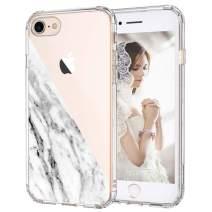 MOSNOVO iPhone SE 2020 Case, iPhone 8 Case, iPhone 7 Case Clear, Half White Marble Clear Design Printed Transparent Back Case with Soft TPU Bumper Case Cover for iPhone 7 / iPhone 8 / iPhone SE 2020
