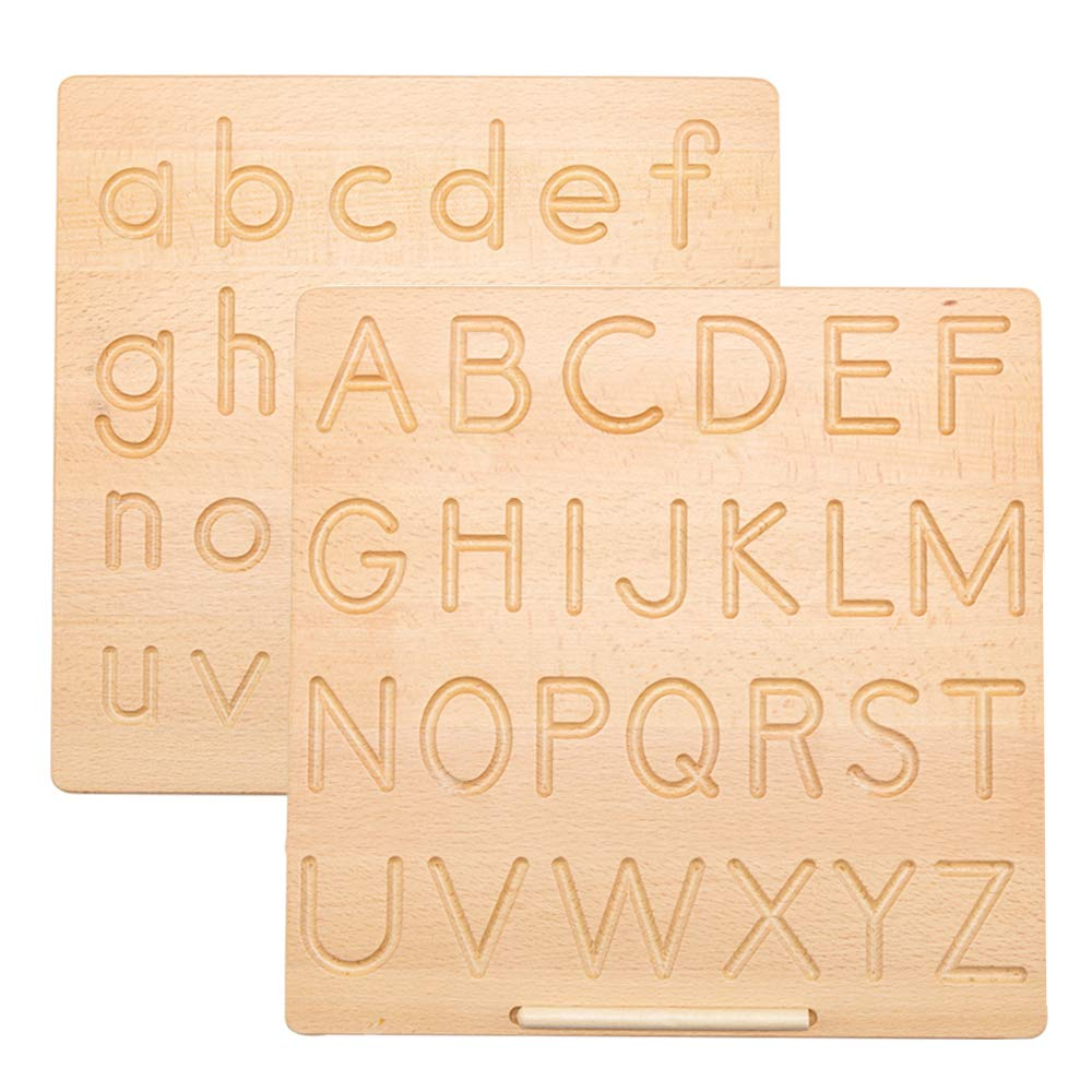 JETM·HH Letter Tracking Board,Wood Alphabet Tracing Board from Montessori Learning Skills Toys,11.55 x 11.45 Inches-Reversible Uppercase and Lowercase…