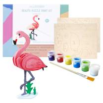 Allessimo Reality Puzzles 3D Wooden Model Paint Kit (Flamingo - 22 pc Puzzle) Toys for Kids & Adults DIY Puzzle Build 3D Puzzles Paint Kits
