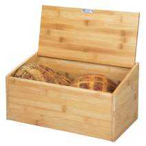 mDesign 100% Bamboo Bread Box Bin with Hinged Lid for Kitchen Countertop, Island and Pantry Storage - Eco-Friendly, Large Capacity Storage - Natural Wood Finish