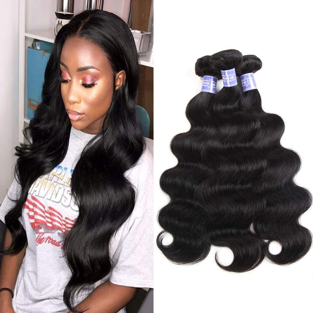 Sayas Hair 10A Grade Brazilian Body Wave Human Hair Bundles Weave Hair Human Bundles Brazilian Virgin Hair For African Americans Women (8 10 12)