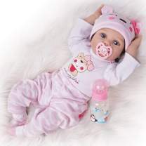 Seedollia Real Life Reborn Baby Doll Girl Silicone Open Blue Eyes Newborn 22 inch Pink Cute Bear Outfit