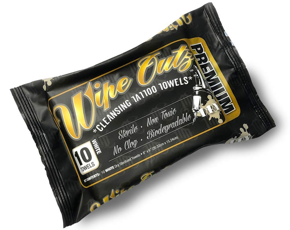 Wipe Outz Tattoo Towels - 10 Count Sterilized Towels to Dry, and Keep Your Tattoo Clean (White, 1 Pack)