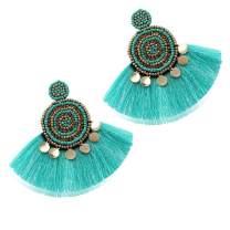 Beaded Tassel Drop Earrings - Statement Hoop Fringe Earrings Dangle, Gift Idea for Women, Girl, Mother, Sister, Daily Wearing