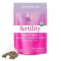 Pink Stork Fertility Tea: Sweet Mint, Red Raspberry Leaf Tea, 100% Organic, Fertility Tea for Women, Fertility Prenatal Vitamins, Hormones + Cycle, Women-Owned, 20 Cups
