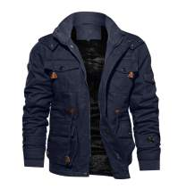 TACVASEN Men's Jacket-Casual Winter Cotton Military Jacket Thicken Hooded Cargo Coat