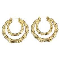 Hip-Hop Oversized Bamboo Hoop Earrings for Women Gold