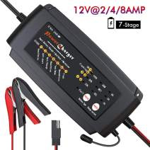 BMK 12V 2A 4A 8A Smart Battery Charger Portable Trickle Battery Maintainer with 7 Stages Fast Charging IP64 Waterproof Trickle Charger for Car Boat Lawn Mower Marine Sealed Lead Acid Batteries