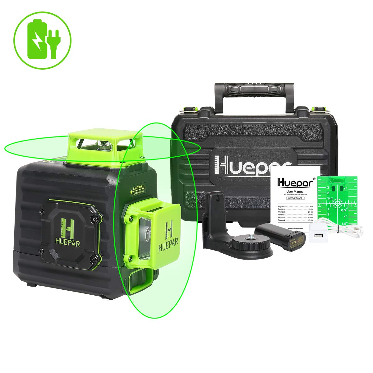 Huepar 2 x 360 Cross Line Self-leveling Laser Level, 360° Green Beam Dual Plane Leveling and Alignment Laser Tool, Li-ion Battery with Type-C Charging Port & Hard Carry Case Included - B02CG