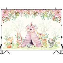 Allenjoy 7x5ft Sweet Boho Theme Woodland Animals Backdrop for Kids 1st Birthday Party Baby Shower Decoration Banner Pink Flowers Watercolor Wild Creatures Photography Background Photo Booth Props