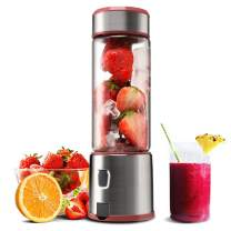 Personal Glass Smoothie Blender, Kacsoo S610 USB Rechargeable Portable Blender Juicer Cup, Single Serve Fruit Mixer, Small Travel Blender for Shakes and Smoothies, with 5200 mAh Rechargeable Battery