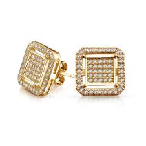 Geometric Flat Square Box Frame Cubic Zirconia Pave CZ Stud Earrings For Men 14K Gold Plated 925 Sterling Silver 12MM