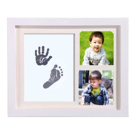 ELEOPTION Baby Handprint and Footprint Frame Kit Ink Pad with 1 Imprint Cards Best Baby Shower Gifts for Newborn Girls and Boys (White)