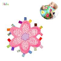 Inchant Colorful Taggy Security Blanket - Newborn Baby Pink Flower Shape Teether Cloths Toy, Ultra Soft Security Plush, Sleep Appease Towel Blankie for Toddler Kid Infant