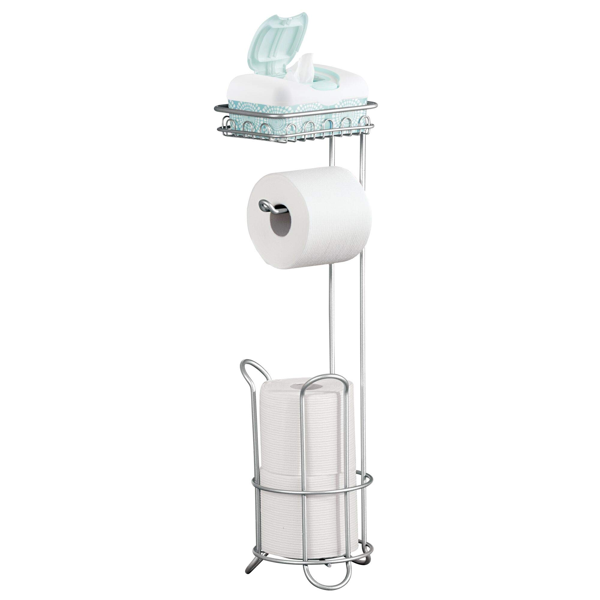 iDesign Classico Free Standing Toilet Paper Holder with Shelf for Bathroom - Chrome