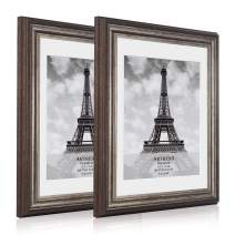 ARTrend, Picture Frames 8x10, Antique Brown, Wide Molding Frames Matted to Fit 8 by 10 Photo, White Mat Frames, 2 Pack.