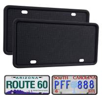 WildAuto License Plate Frame Black 2 Pack, Universal Silicone License Plate Holder for Cars, Anti-Rust Weather-Proof Rattle-Proof, Drainage Holes Design Silicone License Plate Frames