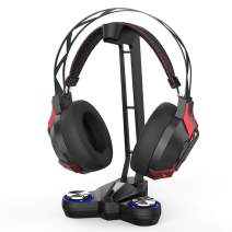 dodocool Gaming Headphones Stand Headset Stand with EQ7.1 Surround Sound, Headset Holder, LED Lights, 2 USB Ports 3.5mm Audio Jacks and a Microphone Jack, Black