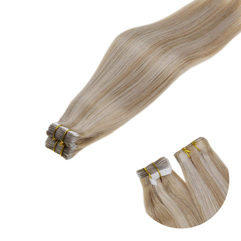 LaaVoo 14 inch Tape in Human Hair Extensions Highlighted Color Ash Blonde to Medium Blonde Stright Skin Weft Remy Tape Hair Extension 20 Pcs 50g/Package