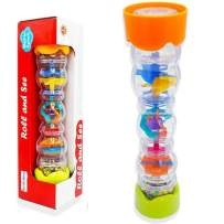 Here Fashion 11.8'' Baby Rainmaker Mini Shaker Toy, Rain Stick Musical Instrument Sensory Toys for Kids Toddlers, Colorful Beads