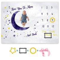"""OZMI Baby Monthly Milestone Blanket, Personalized Baby Blanket for Newborn Baby Boy and Girl, Best Photography Backdrop Photo Prop for Newborn, Baby Shower Gift, Large 60""""x40""""(Moon Style)"""
