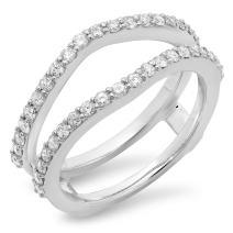 0.50 Carat (ctw) 10K Gold Round Diamond Wedding Band Enhancer Guard Double Ring 1/2 CT