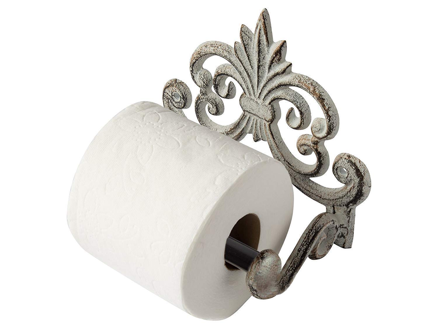 """Comfify Fleur De Lis Cast Iron Toilet Paper Roll Holder - Cast Iron Wall Mounted Toilet Tissue Holder - European Vintage Design - 6.75"""" x 6.25"""" x 4.25"""" - with Screws and Anchors (Antique White)"""