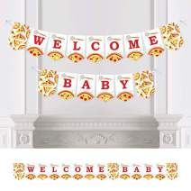 Big Dot of Happiness Pizza Party Time - Baby Shower Bunting Banner - Party Decorations - Welcome Baby