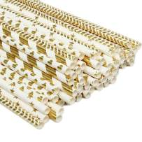 ZOOYOO Paper Straw 100pc For Parties,Birthdays,Weddings,Baby Showers And Celebrations (Gold)