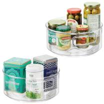 """mDesign Plastic Lazy Susan Spinning Food Storage Turntable with Handles for Cabinet, Pantry, Refrigerator, Countertop - Organizer for Spices, Condiments, Baking Supplies - 9"""" Round, 2 Pack - Clear"""