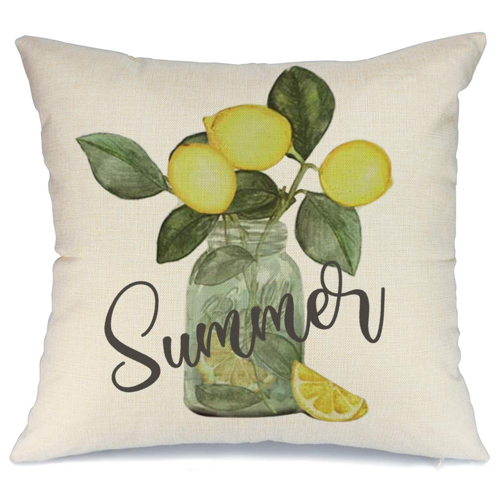 AENEY Summer Decorations Pillow Cover 18x18 Lemon Pillow Decorative Throw Pillow Summer Farmhouse Decor Pillow Case for Home A367-18