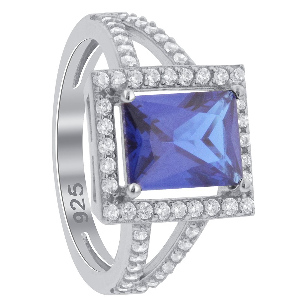 Gem Avenue Rectangle Blue Sapphire Cubic Zirconia Sterling Silver Halo Ring