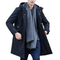 Pioneer Camp Men's Jackets Waterproof Windproof Outdoor Black Hooded Warm Long Parka Coats for Early Spring Fall Winter