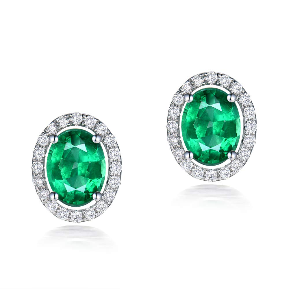 Lanmi 14K White Gold Natural Emerald Earrings Studs with Diamonds for Women