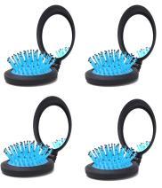 LOUISE MAELYS 4pcs Folding Pocket Hair Brush Comb with Mirror Travel Set Gift Idea