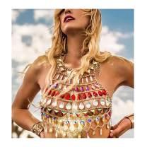 Fstrend Boho Rhinestone Body Chains Sequins Beach Sexy Body Bikini Statement Bra Fashion Charm Harness Body Jewelry Accessories for Women and Girls