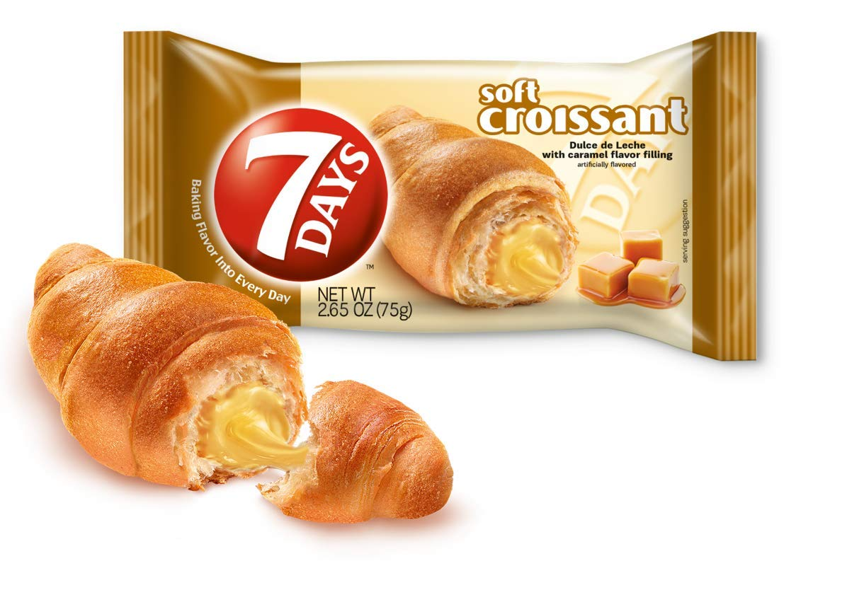 7Days Soft Croissant, Caramel Dulce De Leche Filling, Perfect Breakfast Pastry or Snack, Non-GMO (Pack of 24)