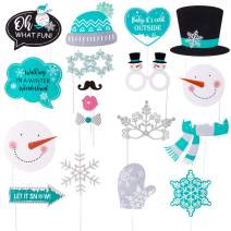 Snowman Photo Booth Props Let It Snow Christmas Winter Wonderland Party Holiday Decorations 18 pcs SUNBEAUTY (Teal White Black)