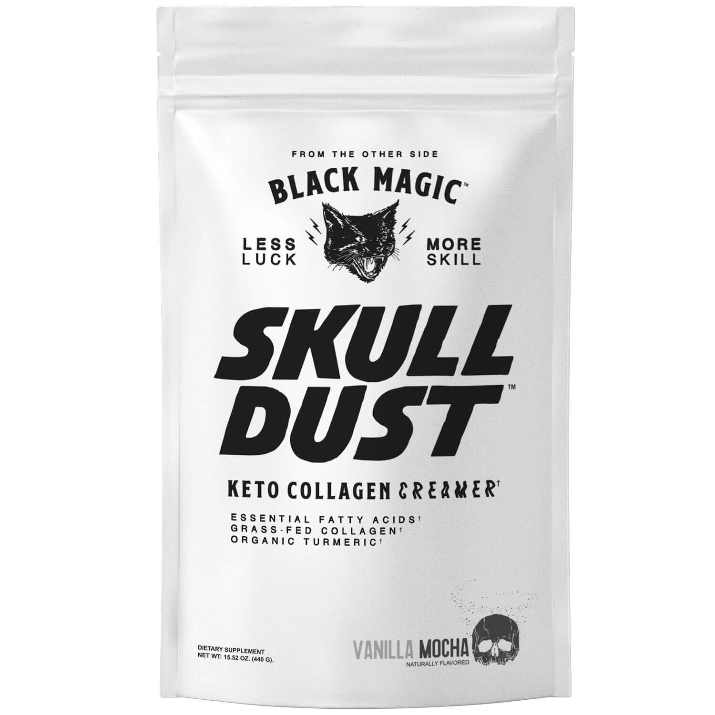Black Magic Skull Dust Keto Coffee Creamer with Grass Fed Collagen - 12 Grams of Protein - Organic Tumeric - Vanilla Mocha Flavored - Keto and Paleo Friendly