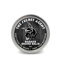 Badass Beard Care Beard Balm - Secret Agent Scent, 1 Ounce - All Natural Ingredients, Keeps Beard and Mustache Full, Soft and Healthy, Reduce Itchy and Flaky Skin, Promote Healthy Growth