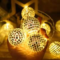 AceList 20 LED Gold-Colors Mirror Disco Ball String Light Fairy Globe Light - Battery Powered Decorative Indoor Outdoor