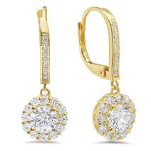 3.60 CT ROUND CUT CZ Solitaire Halo PAVE DROP DANGLE LEVERBACK EARRINGS 14K Yellow GOLD