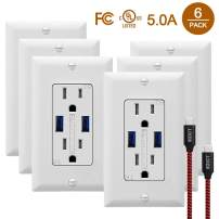 SZICT USB Wall Outlet Receptacles with USB 6 Pack 5.0A High Speed Charging USB Receptacle 15A Tamper Resistant USB Wall Outlet with Wall Plates and USB Cable White