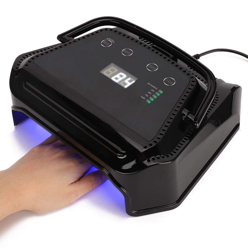 72W Rechargeable UV LED Nail Lamp, Intelligent Power Storage Nail Curing Dryer LED Light with 5200MAH Battery Capacity Manicure Fast Drying Gel Polish (Black)(US)