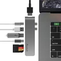 Thunderbolt 3 hub,Mastertool Aluminum USB Type-C Hub Multiport Adapter Combo for MacBook Pro 2016/2017 Thunderbolt 3 Port 5K@60Hz, 4K HDMI,Pass-Through Charging,SD/Micro SD Cards Slots and 2 USB 3.0