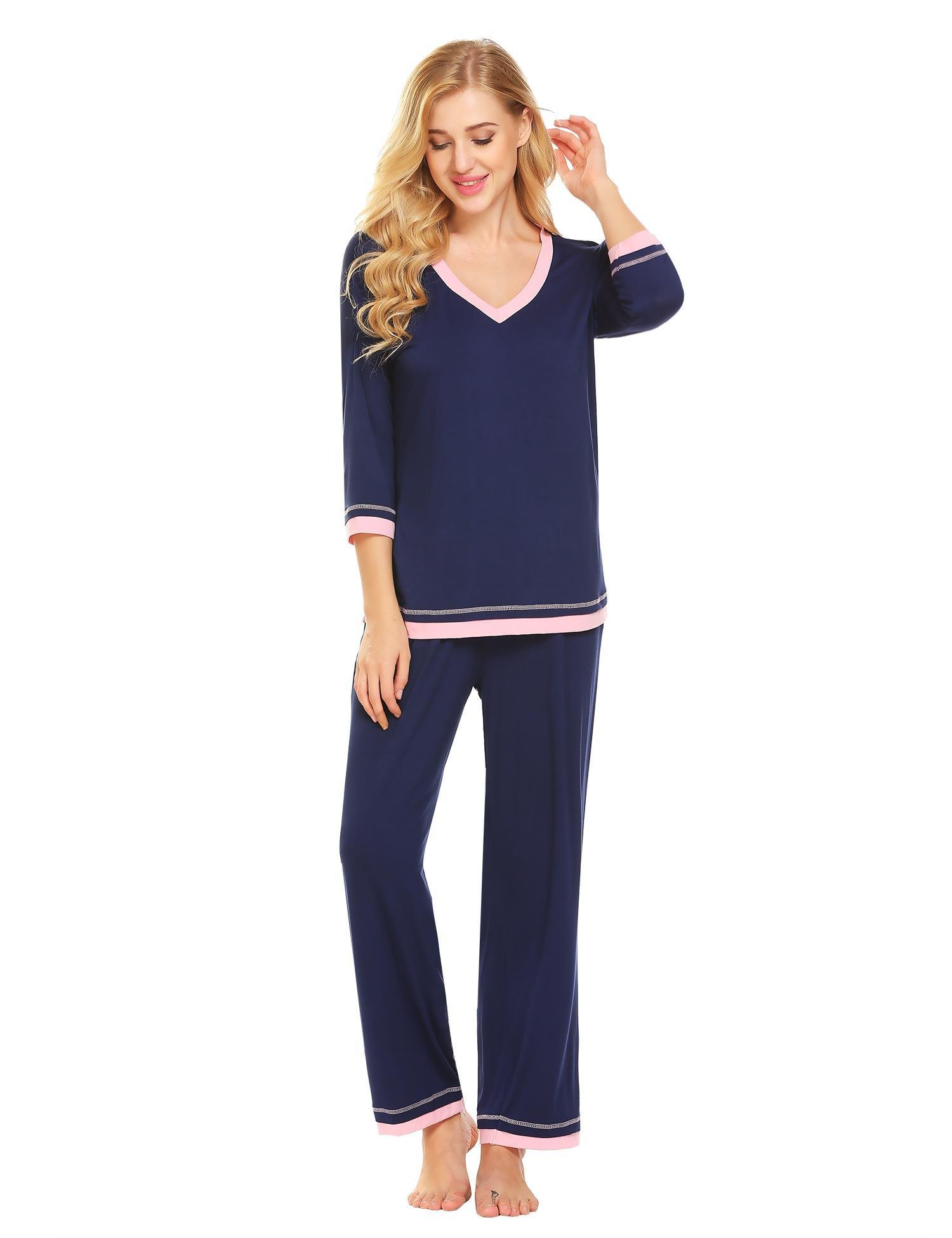 Ekouaer Pajamas Women's Long-Sleeve Pjs Top with Long Lounge Pants Soft Sleepwear Set S-XXL