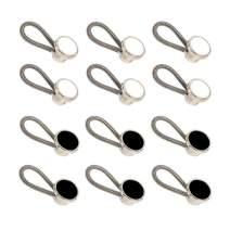 Mahaohao 12-Pack Elastic Metal Collar Extenders Neck Extender Wonder Button for Men Dress Shirts Black White 3/8''
