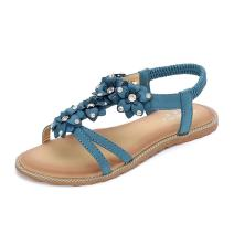 Meeshine Women T-Strap Beaded Flower Gladiator Flat Dress Sandals Beach Shoes