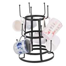 BLACKOBE Mug Holder Tree Organizer, Desktop Wrought Iron Layered Cup Rack, Vintage Stylish Metal Stand for to 15 Coffee Mugs, Glasses, and Cups 7.87x7.87x16.53in